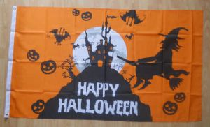 Happy Halloween Orange Large Flag - 5' x 3'.